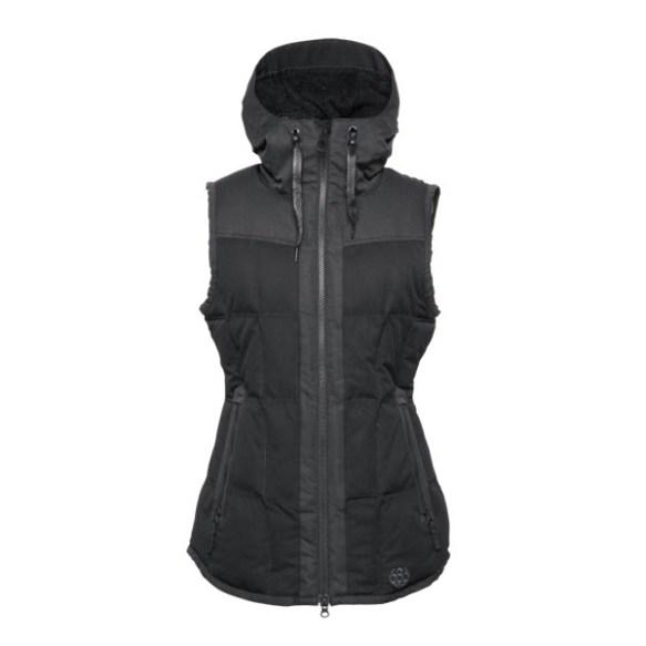686 Authentic Hillside Vest Womens Snowboard Gillet Black Herringbone dobby Medium Sample 2015