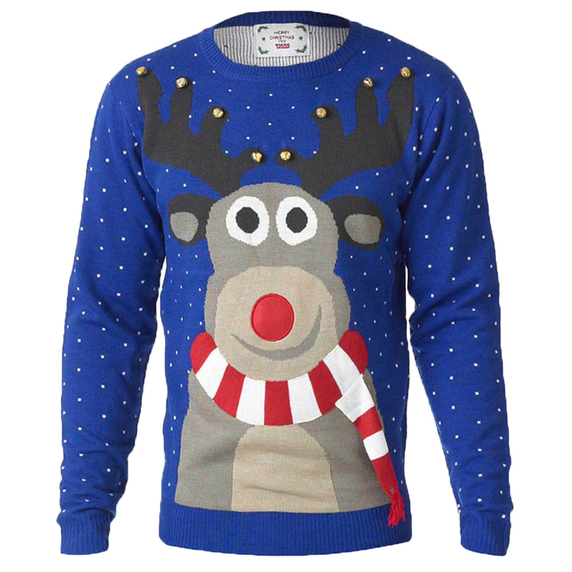 Mens Christmas Jumper D555 3d Rudolph Jingle Bells Music