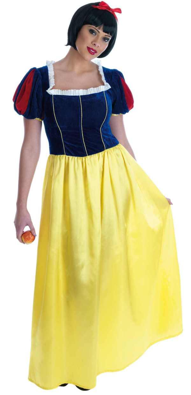 Ladies Snow White Long Dress Costume Fairytale Fancy Adults Womens