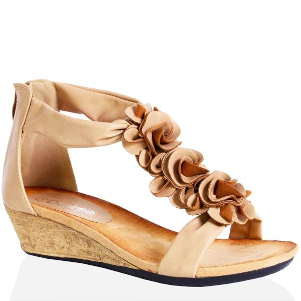 Womens Ladies Flat Wedge Heel Zip Open Toe Summer