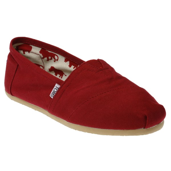 Womens Toms Classic Red Canvas Flats Slip Espadrille