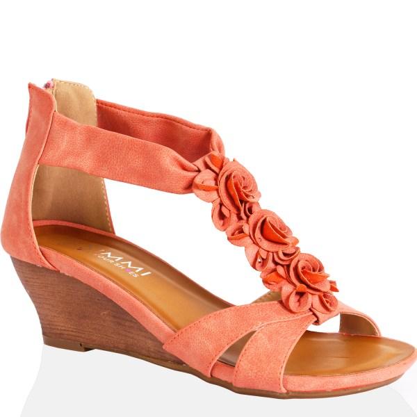 Womens Ladies Wedge Heel Fashion Diamante Flower Zip