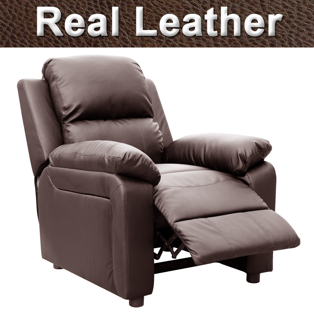 Real Leather Recliner Chairs Ultimo Brown Real Leather Recliner Armchair Sofa Chair