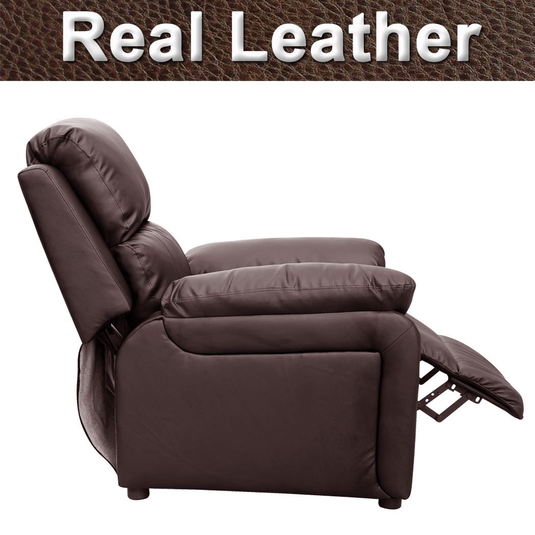 brown leather recliner sofa uk fuzzy slipcover ultimo real armchair chair