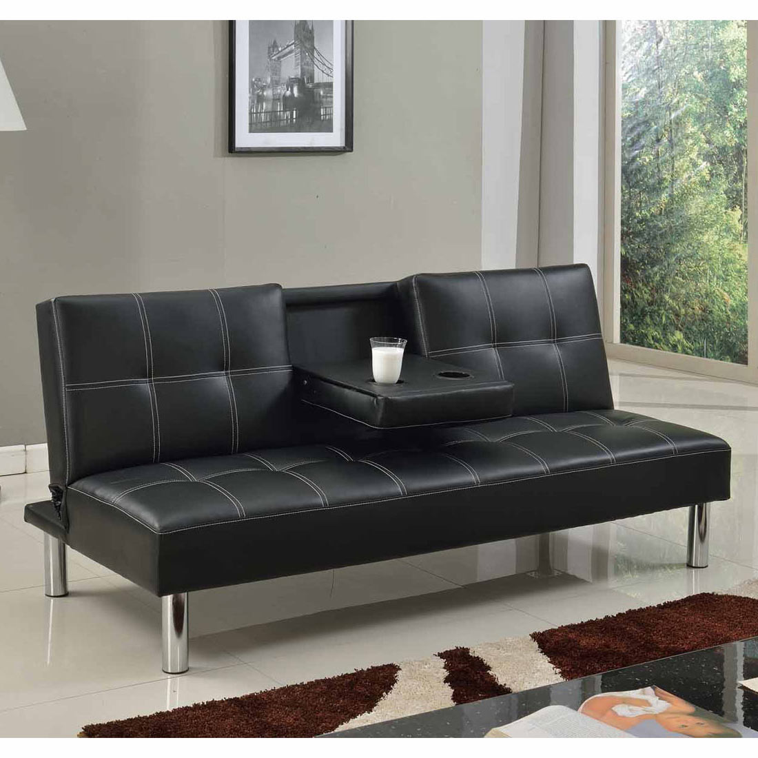 fold down sofa beds uk living room idea cinemo 3 seater bed faux leather w table