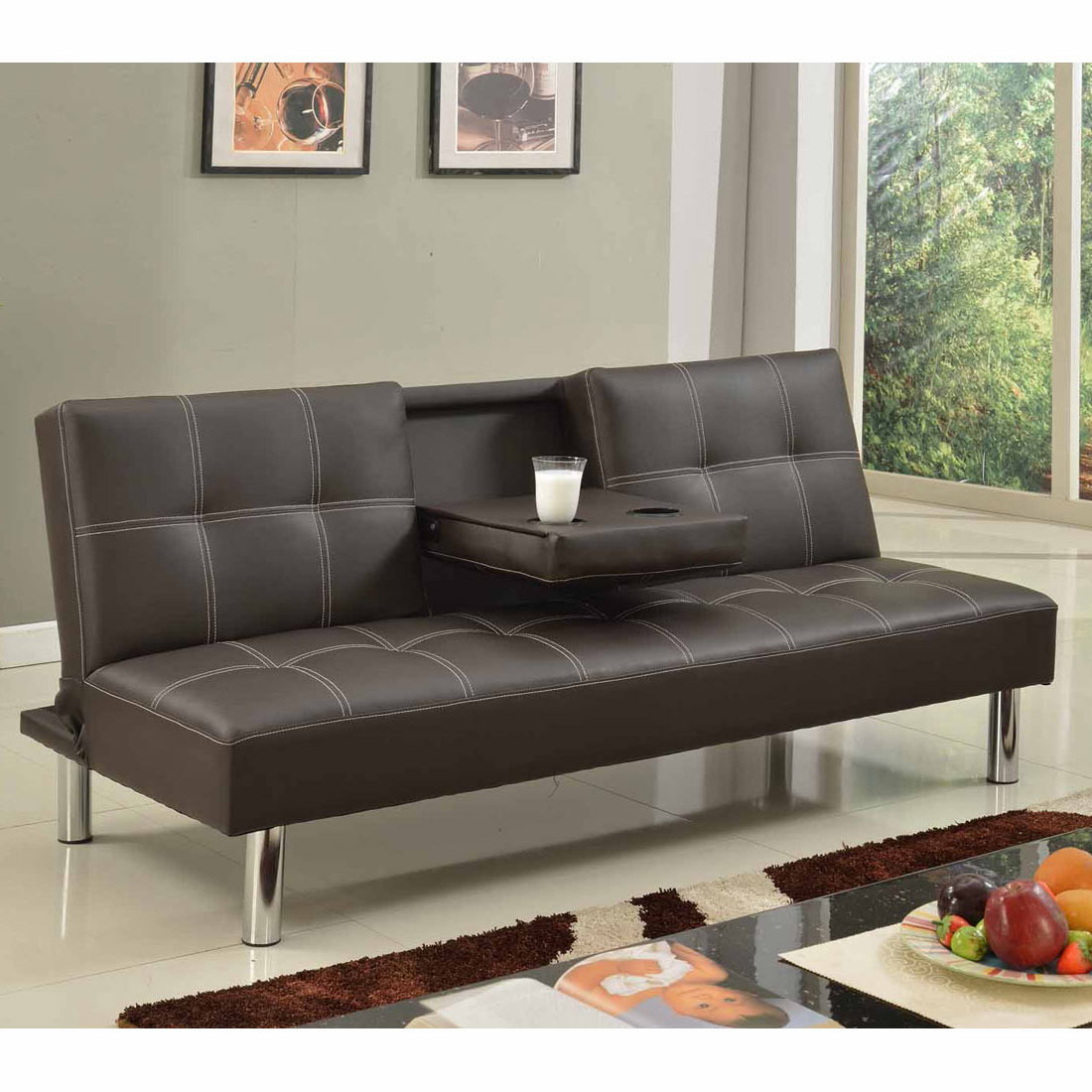 lane sofa with fold down table nova black and red bonded leather corner left hand cinemo 3 seater bed faux w