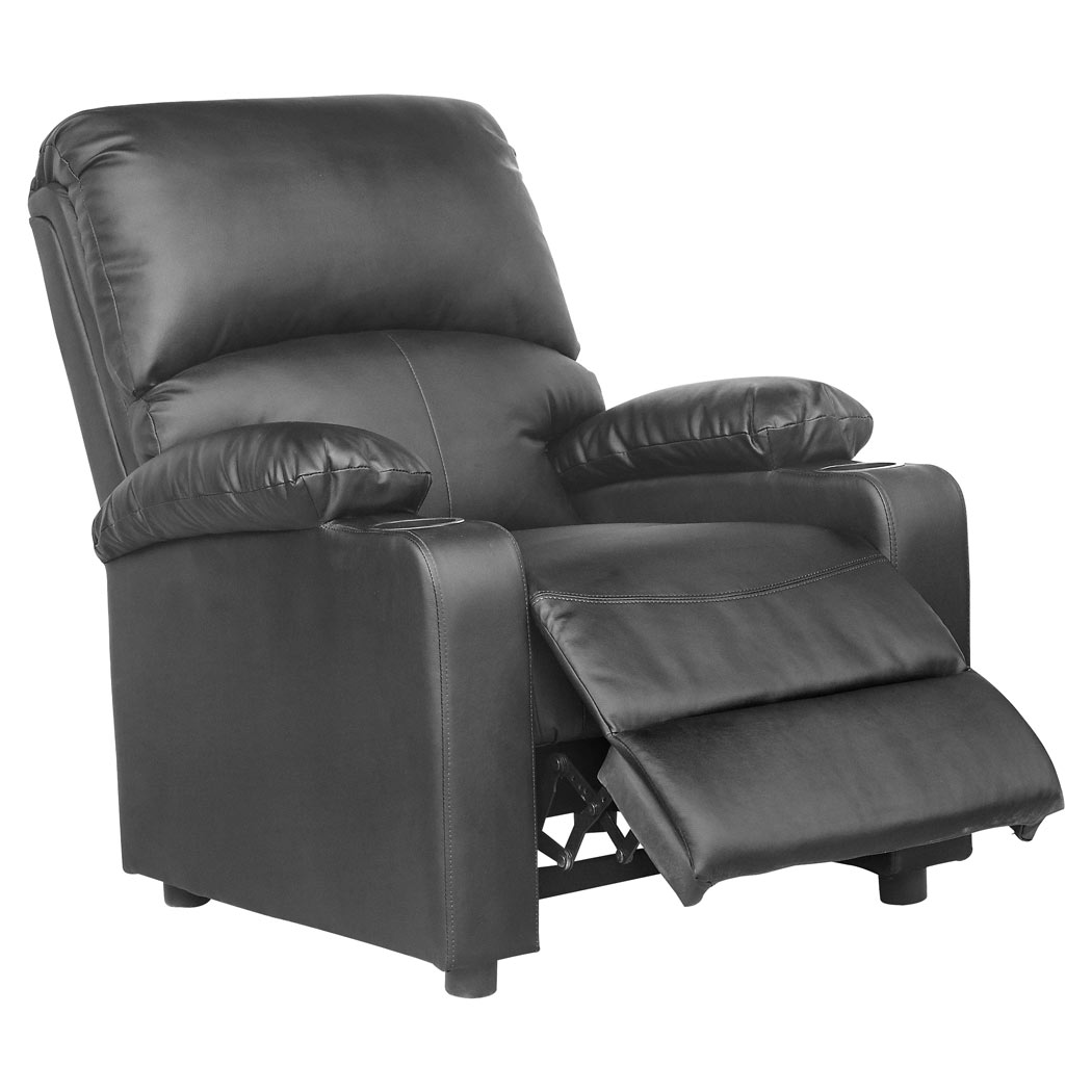 sofa armchair drink holder caddy loveseat and chaise set kino real leather recliner w holders