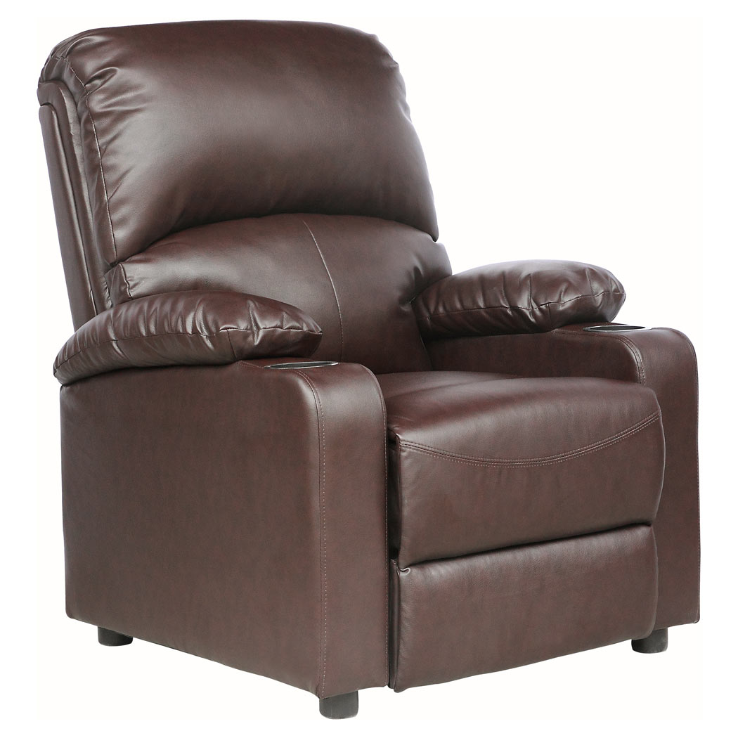 sofa armchair drink holder caddy extra large fleece throws kino real leather recliner w holders