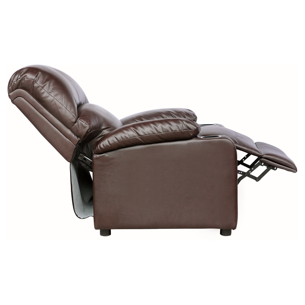 sofa armchair drink holder caddy white convertible kino real leather recliner w holders