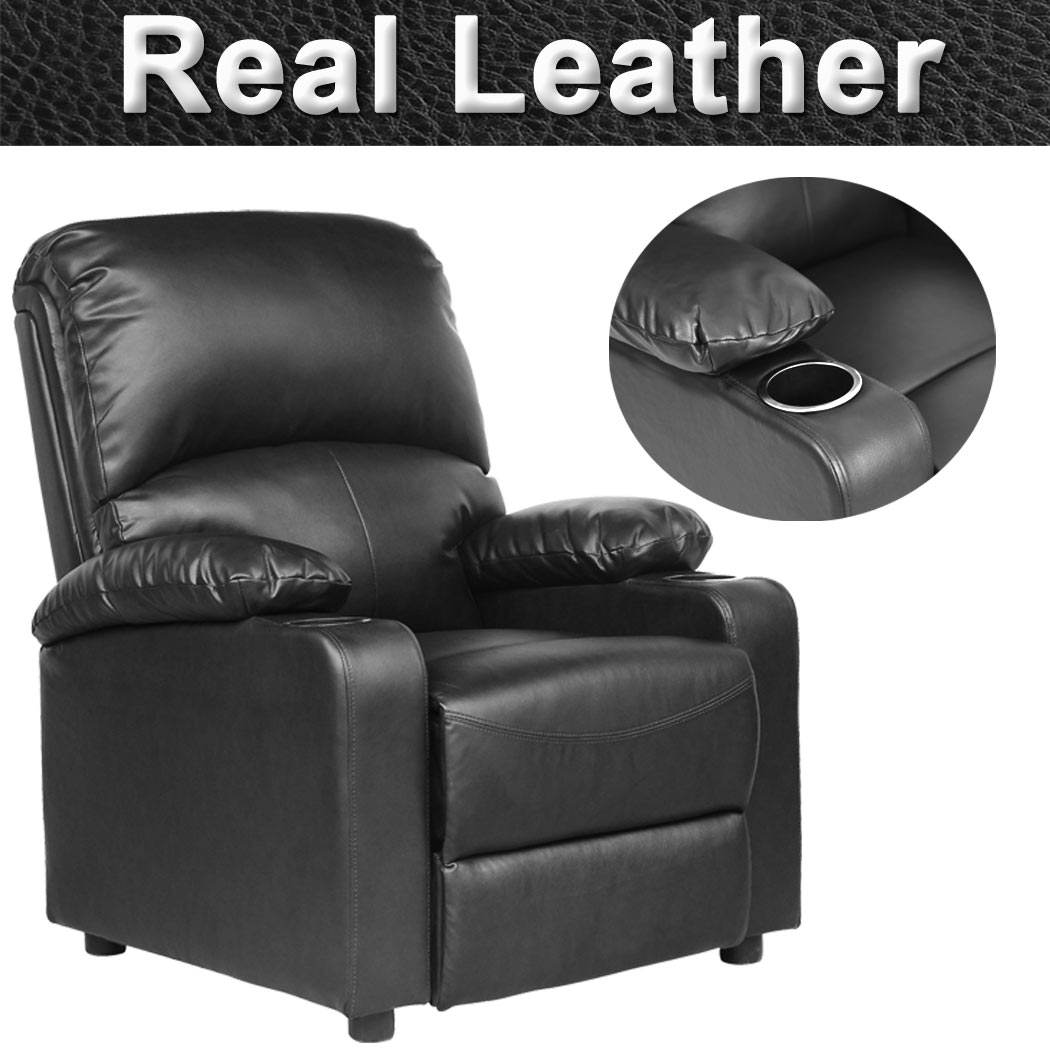 sofa armchair drink holder caddy console table behind decor ideas kino real leather recliner w holders