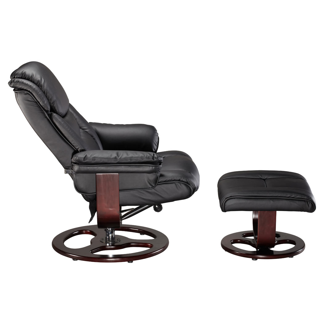 leather swivel recliner chair and stool desk keeps sinking vienna real w foot