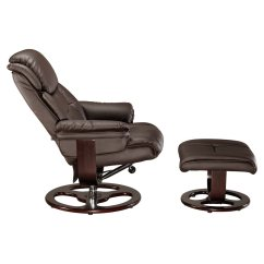 Leather Swivel Chair Enduro Fishing Vienna Real Recliner W Foot Stool