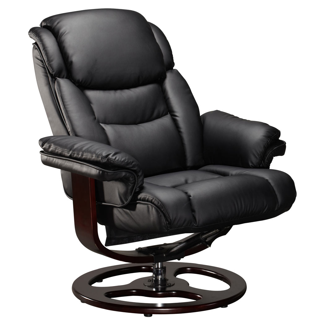 VIENNA REAL LEATHER BLACK SWIVEL RECLINER CHAIR w FOOT