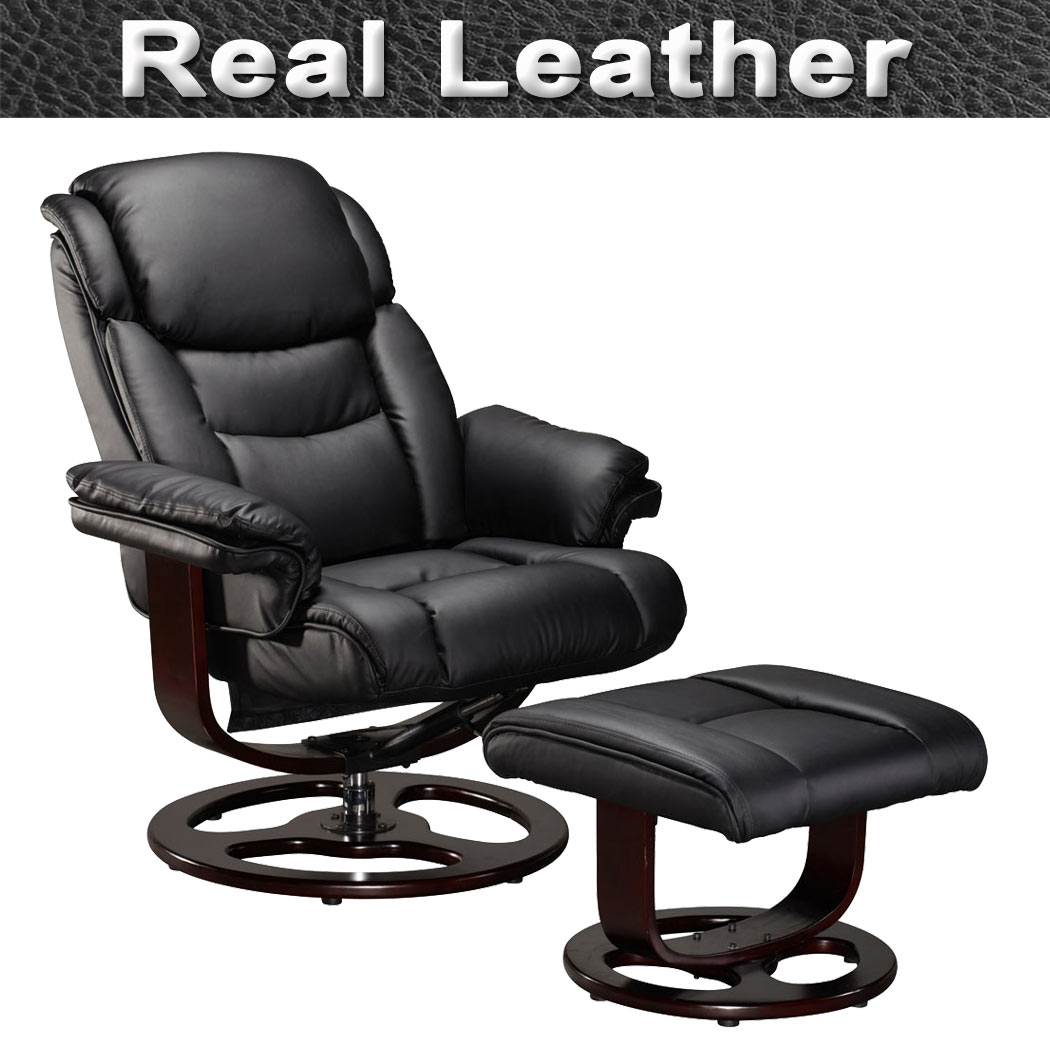 leather swivel chair lafuma replacement cords accessories vienna real recliner w foot stool