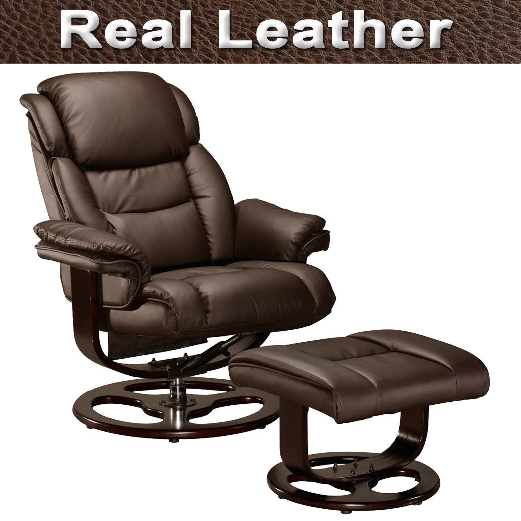 recliner office chair nz deck images vienna real leather swivel w foot stool