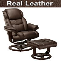 VIENNA REAL LEATHER SWIVEL RECLINER CHAIR w FOOT STOOL ...