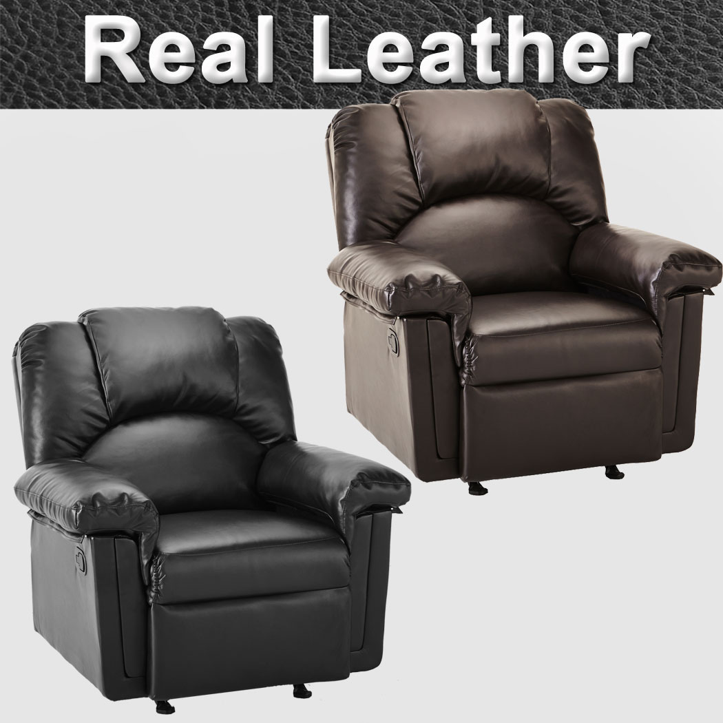 Real Leather Recliner Chairs Monaco Real Leather Recliner Armchair Sofa Home Lounge