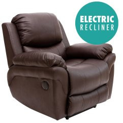 Electric Recliner Sofa Chair Motor Sofascore Sign Up Madison Brown Real Leather Auto Armchair