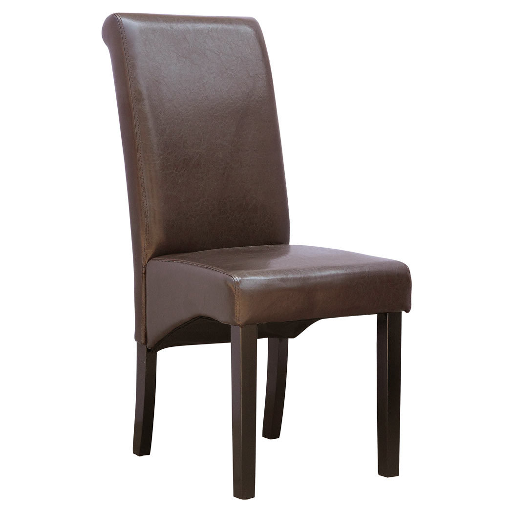 Faux Leather Chair Cambridge Faux Leather Dining Chair W Roll Top High Back