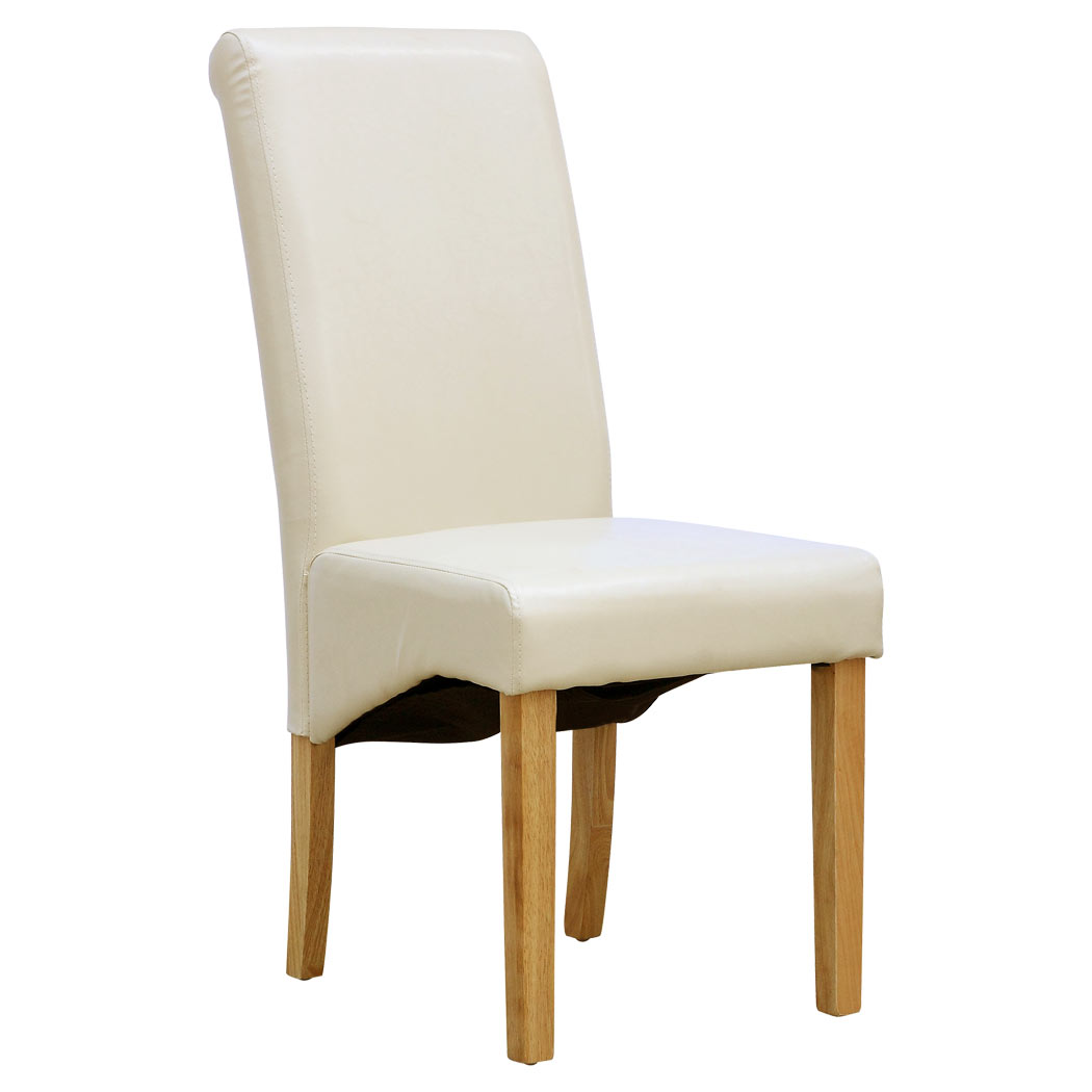 cream upholstered dining chairs uk kids swing chair cambridge faux leather w roll top high back