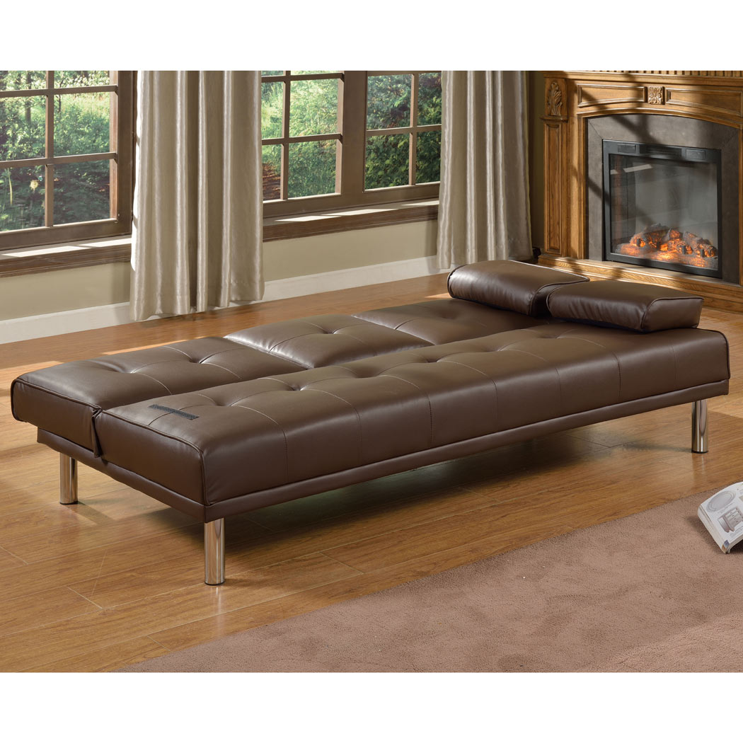 rome faux leather convertible sofa bed brown waterproof 3 seater w fold down table