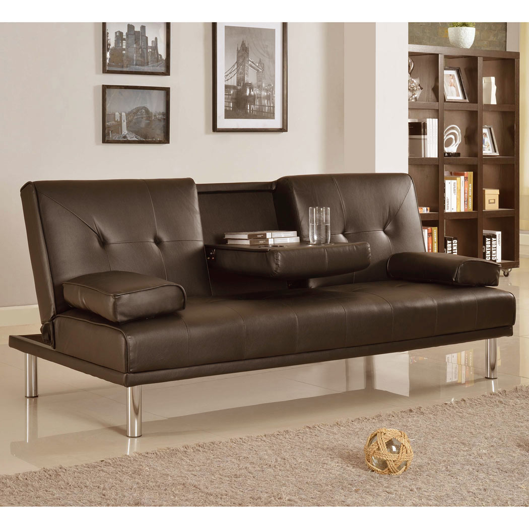 rome faux leather convertible sofa bed brown covers for pets uk 3 seater w fold down table