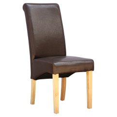 Wood And Leather Chair Covers Wedding Ebay Cambridge Faux Dining W Roll Top High Back