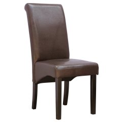 High Back Dining Chairs Home Goods Room Cambridge Faux Leather Chair W Roll Top