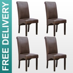 Dark Wood Dining Chairs Chair Cover Hire Hornchurch 4 X Cambridge Leather Brown W Legs