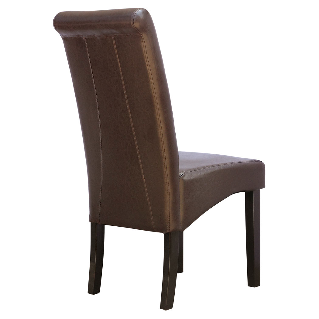 dark wood dining chairs stackable kids 6 x cambridge leather brown chair w legs