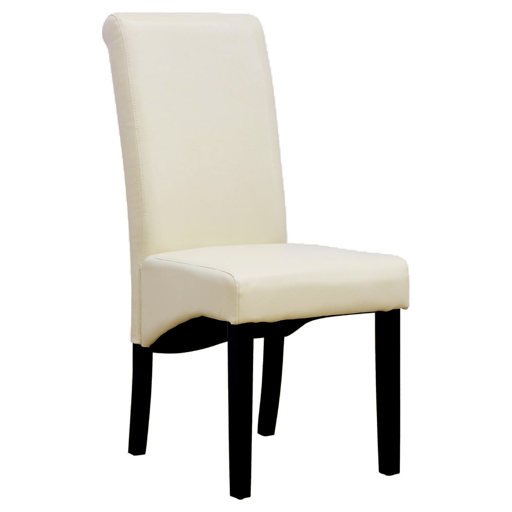 Cream Chairs 2 X Cambridge Leather Cream Dining Chair W Dark Wood Legs