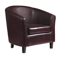 Tub Chair Brown Leather Oversized Living Room With Ottoman 2 X Kent Faux Armchair Ideal For