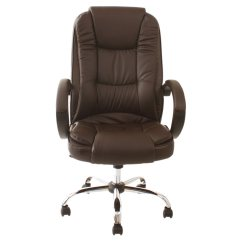 Brown Leather Computer Chair Standard Height Santana High Back Executive Office
