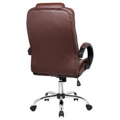 Brown Leather Computer Chair Modern Swivel Desk Santana High Back Executive Office