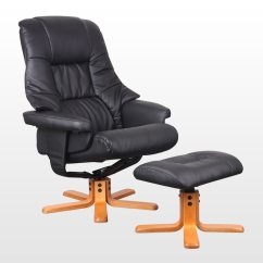 Leather Swivel Recliner Chair And Stool Desk Gold New Real W Foot
