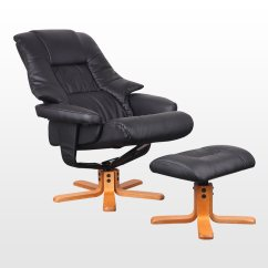 Swivel Chair Feet Barcelona Used New Real Leather Recliner W Foot Stool