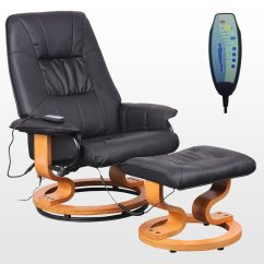 Recliner Massage Chair Resin Wicker Chairs Home Depot Tuscany Real Leather Black Swivel W