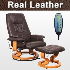 Leather Swivel Recliner Chair And Stool Hanging On Stand Tuscany Real Brown Massage W