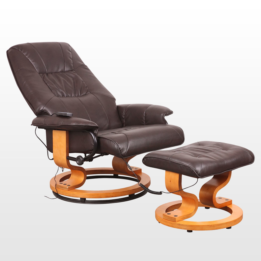 brown leather tub chair with footstool egg pod tuscany real swivel recliner massage w