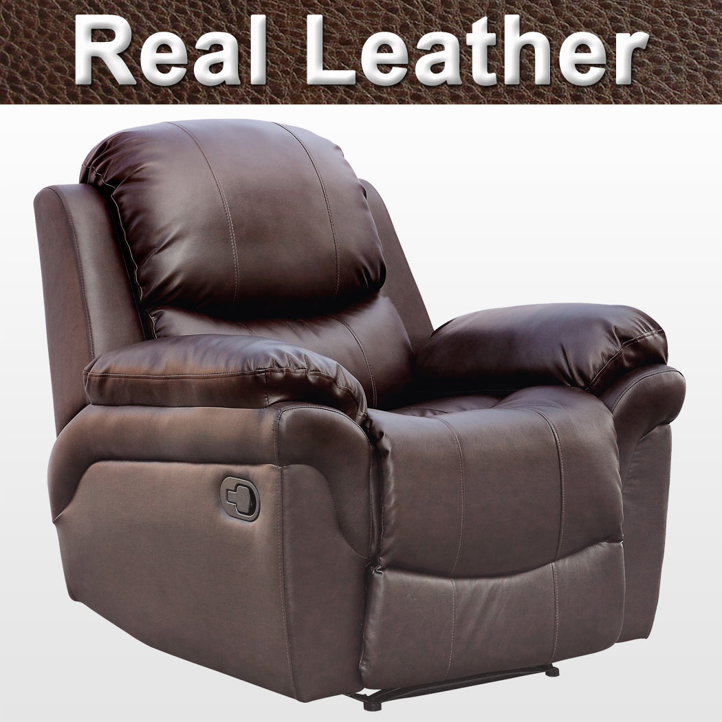 Real Leather Recliner Chairs Madison Real Leather Recliner Armchair Sofa Home Lounge