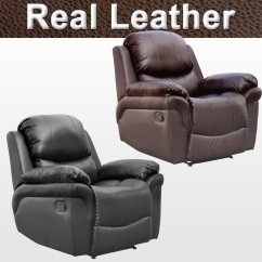 Gaming Lounge Chair Ferno Stair Madison Real Leather Recliner Armchair Sofa Home