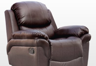 Madison Real Leather Recliner Armchair Sofa Home Lounge Chair Reclining Gaming Brown