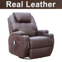 CINEMO REAL LEATHER RECLINER CHAIR ROCKING MASSAGE SWIVEL ...