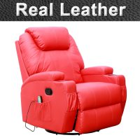 CINEMO RED LEATHER RECLINER CHAIR ROCKING MASSAGE SWIVEL