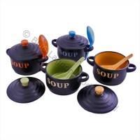 4 x Ceramic Soup Bowls with Lids & Spoons Cute Colours ...