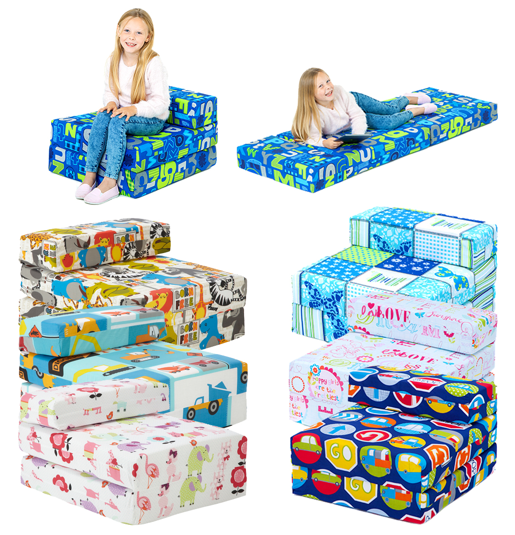 kids fold out bed chair dining room cushion covers character foam sleep over guest single futon