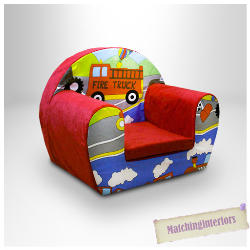 Cars Transport Red Childrens Kids Comfy Foam Chair