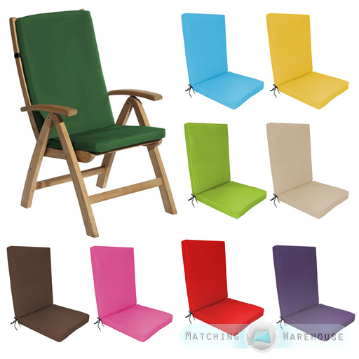 dining chair pad replacement posture task highback garden cushion outdoor furniture high back recliner | ebay