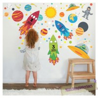 Childrens Space Boy Wall Stickers Decals Nursery Boys ...