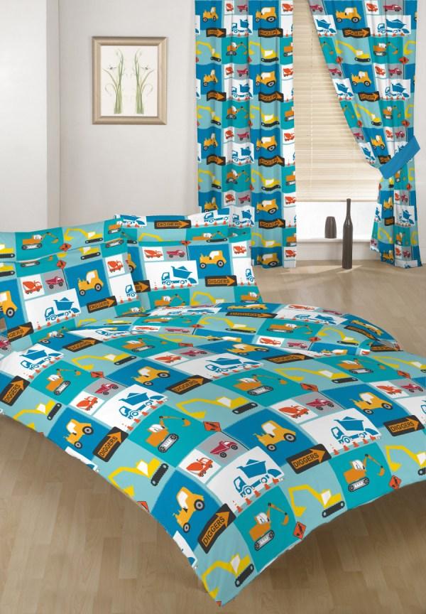 Construction Children' Double Bed Duvet Cover Set & 2 Pillowcases Bedding Kids